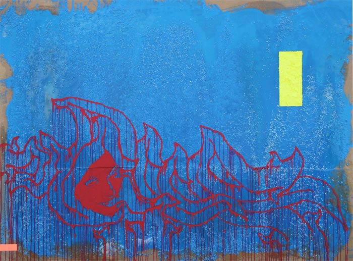 SOLD: Blue, 2008, God's Hands, 96 x 72″ Unframed, Acrylic, Gravel and Resin on Canvas and Wood