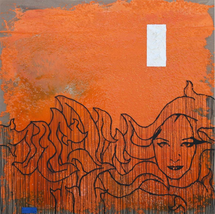 SOLD: Orange, 2008, God's Hands, 96 x 72″ Unframed, Acrylic, Gravel and Resin on Canvas and Wood