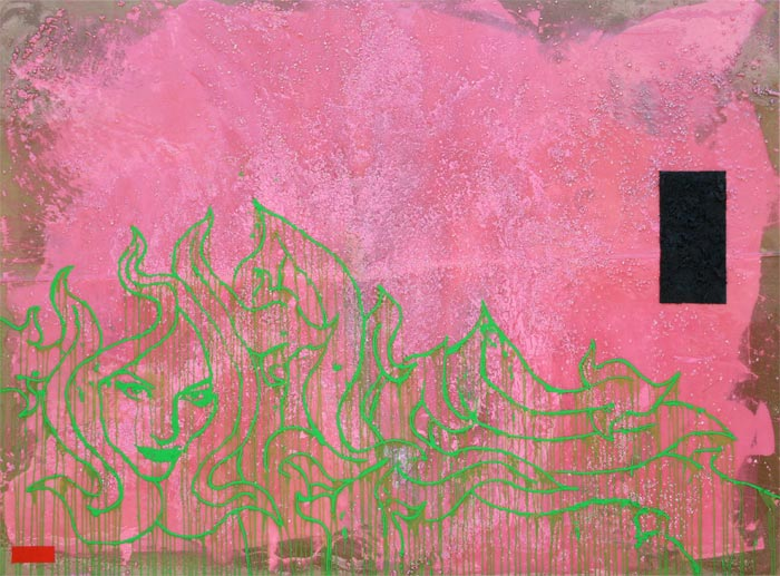 SOLD: Pink, 2008, God's Hands, 96 x 72″ Unframed, Acrylic, Gravel and Resin on Canvas and Wood