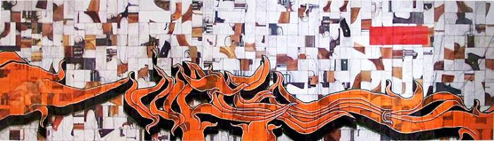 AVAILABLE: Manness 2007, Repurposementation 105 x 29″ Framed Acrylic, Enamel and Thread on Paper