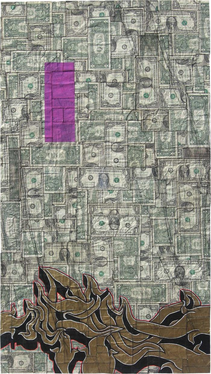AVAILABLE: Ubiquitously Stirring Dilemma 2008, Tender and Private 24 x 44″ Unframed Mixed Media on Dollar Bills