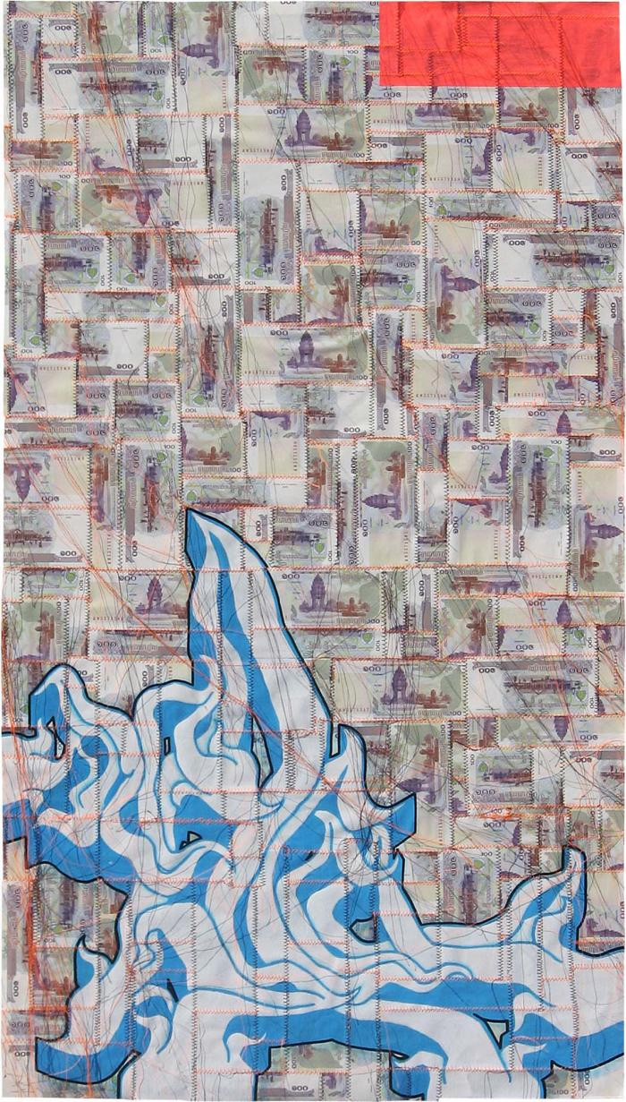 AVAILABLE: Kill Him Ralph 2008, Tender and Private 24 x 44″ Unframed Mixed Media on Cambodian Riels
