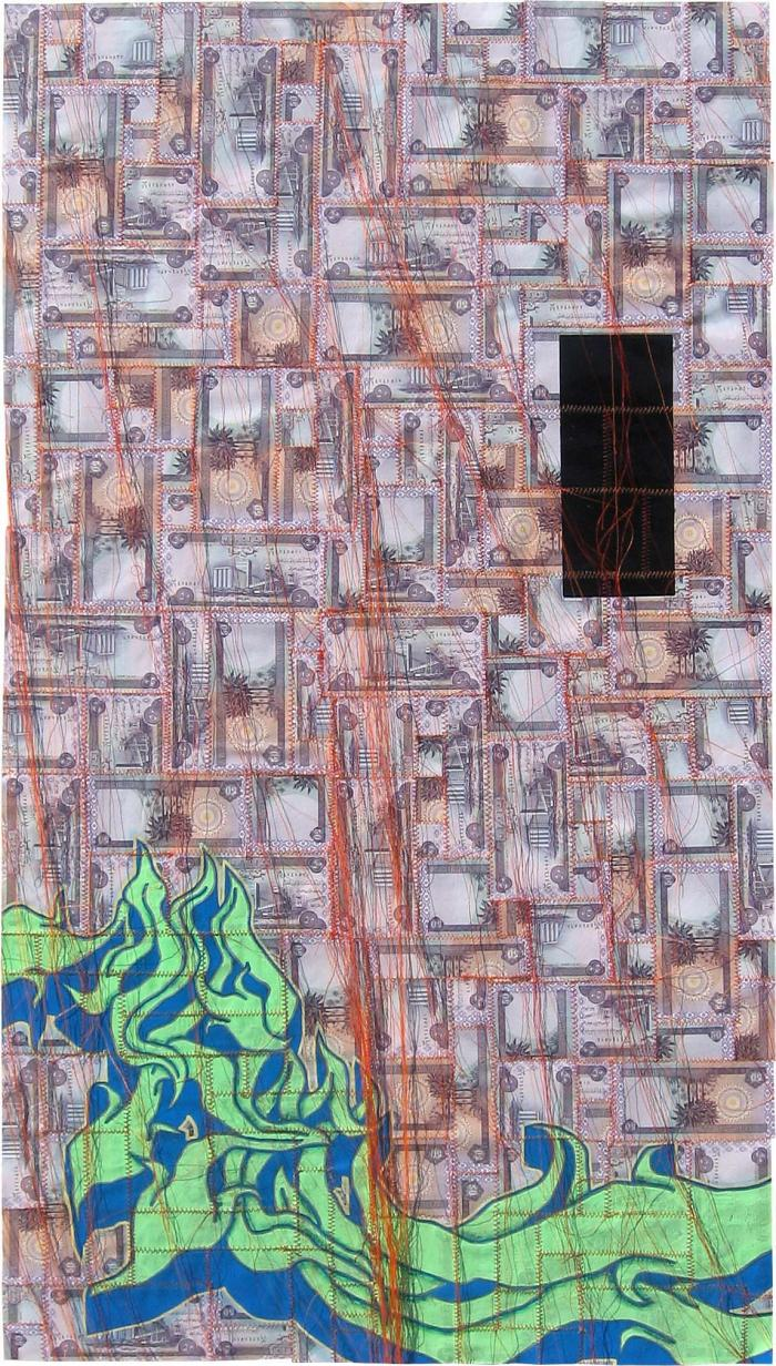 AVAILABLE: I Quit Dying 2008, Tender and Private 24 x 44″ Unframed Mixed Media on Iraqi Dinar