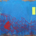 SOLD: Blue, 2008, God&#8217;s Hands, 96 x 72&#8243; Unframed, Acrylic, Gravel and Resin on Canvas and Wood
